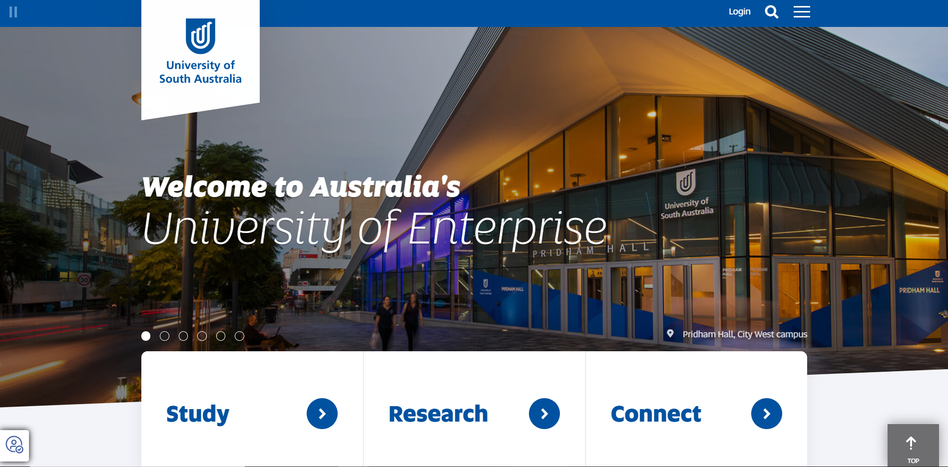 UniSA website, with menu and image of building